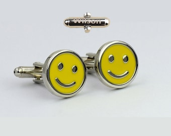 Face Smile Happy Face Cufflinks,Smiley cufflinks, smiley face cufflinks, happy face cufflinks,initials engraving,Name or Initials,gift for