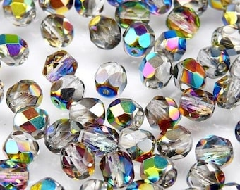 50pcs Czech Fire-Polished Faceted Glass  Beads Round 6mm Crystal Vitrail (6FP003)