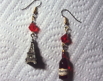 WINE - CABERNET and EIFFEL Tower Earrings