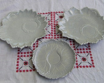 Two 50s Gray Steubenville Woodfield Tea and Luncheon Plates and One Saucer