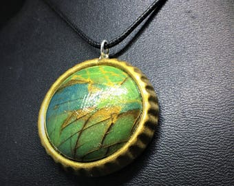 Faux Labradorite Blue Green Art Pendent, Antique Gold Setting, Polymer Clay.