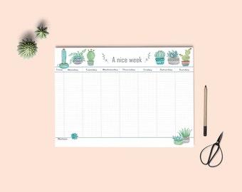 Weekly planner printable | Desk Planner | Watercolor Planner | Pdf weekly planner A4 and letter size | Instant download. Botanical planner