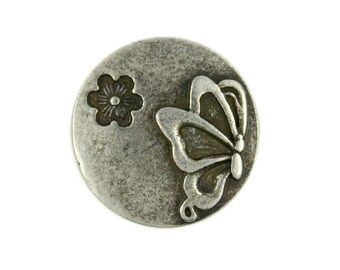 Metal Buttons - Antique Silver Butterfly and Floret Metal Shank Buttons - 20mm - 3/4 inch - 6 pcs