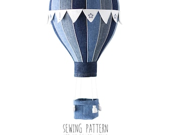 B1 - Pattern Hot Air Balloon with Flags, Basket and Weight Bags for babies - 8 and 16 Segments - Baby Mobile, Nursery Decor, Home Decor DIY