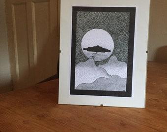A5 framed original mountain print