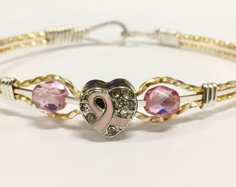 Breast Cancer Awareness Pink Ribbon Silver and Gold Wire Bracelet Size 7 inch