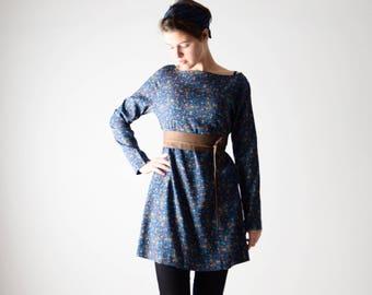 Sweater dress, Tunic dress, Blue dress, Long sleeve dress, Wool dress, Womens clothing, Day dress, Maternity clothes, Floral dress, Winter