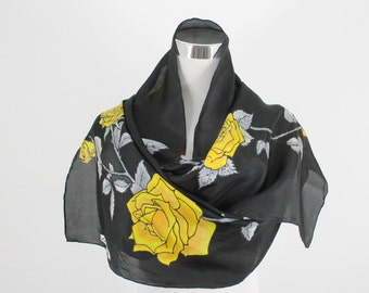 Yellow roses on silk, black and yellow silk scarf, hand dyed Silk Scarf Hand dyed, Yellow roses on a black background, Made to order