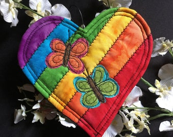 Rainbow Heart quilted ornament, Diversity tribute, A celebration of equality and love, Diversity heart, Quilted ornament,  Rainbow heart #15