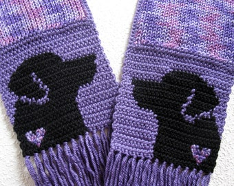 Black Labrador Scarf. Purple knit and crochet scarf with black Labs and small hearts. Knitted Labrador Retriever dog. Labrador gift.