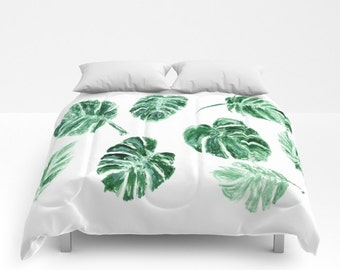 Monstera Leaf Comforter, palm leaf bedding, palm leaf duvet, tropical comforter, palm leaf comforter, monstera leaf duvet, tropical leaves