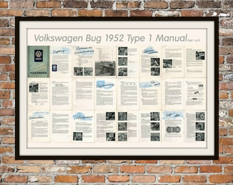 Volkswagen Manual VW 1952 Beetle Type 1 Manual (Part 1 0f 2) Print Vintage Advertising - Vintage Volkswagen - Drawing Art Item 0115