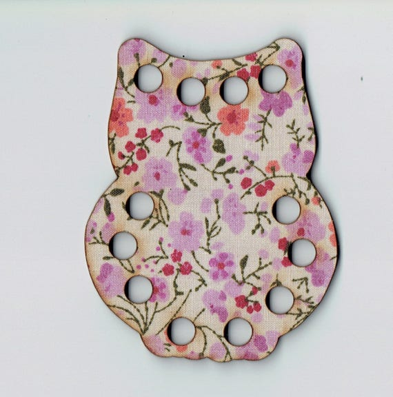 Tri-Fils wooden and fabric OWL size: 8.5 x 7.5 cm