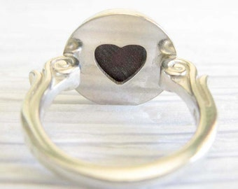 Glass cremation sterling silver Affection ring heart cutout. Ashes of your pet. Mourning jewelry artisan heirloom. Keepsake gift dog cat
