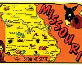 Vintage Style  Kansas  City MO Missouri State Map   Travel Decal sticker