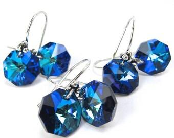 Vintage Strass Blue Swarovski Crystal Elements Earrings, Bermuda Blue Octagon Earrings, Bridal, Wedding, Three Pairs Discount Sale
