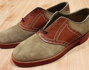 Vintage Men's New Old Stock NOS Hush Puppies Brown Suede Saddle Shoes 8 D Medium USA