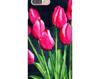 iPhone 7Plus Case, Pink Tulips