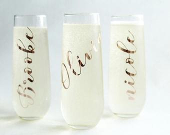 Bridesmaid Champagne Flute/Bridesmaid Gift/Stemless Champagne/Toasting Flutes/Champagne Flute/Rose gold Champagne Flute/ Rosegold