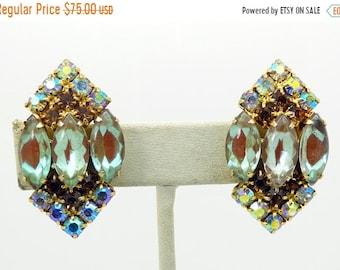 ON SALE Vintage Juliana Saphiret AB Rhinestone Clip Earrings