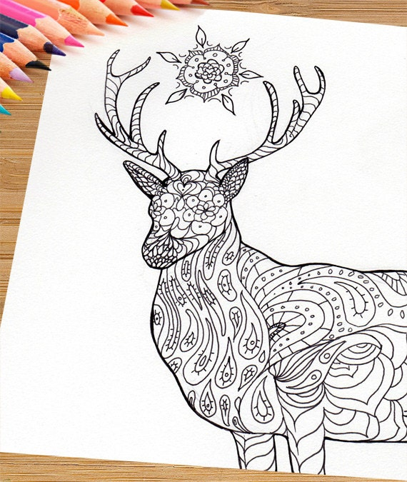 Printable Adult Coloring Page Mandala Stag