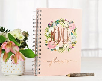 Personalized Planner, Monogram, Weekly Planner, Monthly Planner, Daily Planner, Gift for her, Agenda, Personalized Gift, Floral Rose Gold