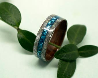 Mother of Pearl and Walnut Bentwood Ring