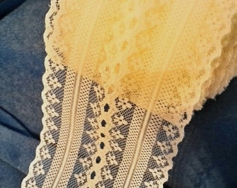 """Vintage 4"""" wide Eggshell ( Off White) Lace with Center Holes 10 Yard or 30 Foot Piece"""
