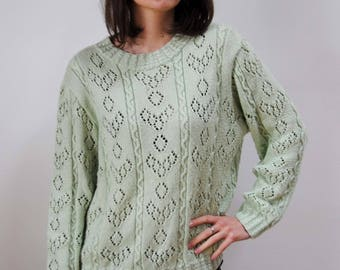 Nice vintage green sweater with water / Mint, openwork