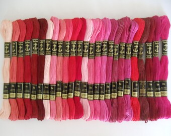 25 Anchor Embroidery Cotton Thread /Skeins / Floss Red & Pink Colors