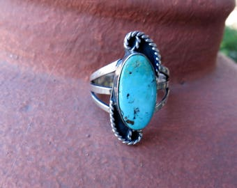 Vintage Navajo Turquoise Ring, Size 6 3/4, Twisted Silver Rope , Sterling, ca 1960