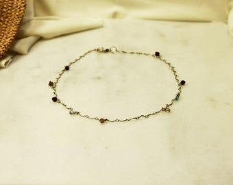Multicolour Beads Silver Chain Choker | Oriental Style Silver Bead Choker | Silver Chain Dainty Bead Necklace