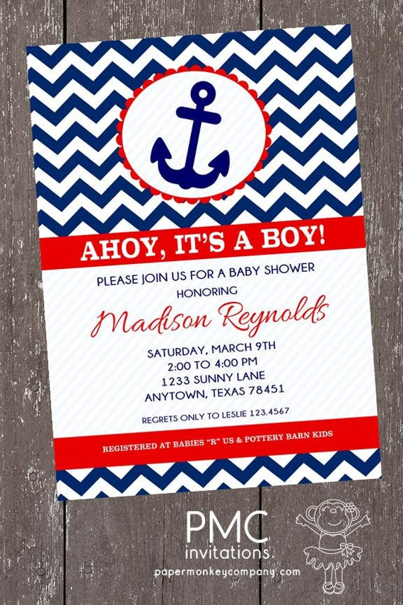 Chevron Nautical Baby Shower Invitations 1.00 each with