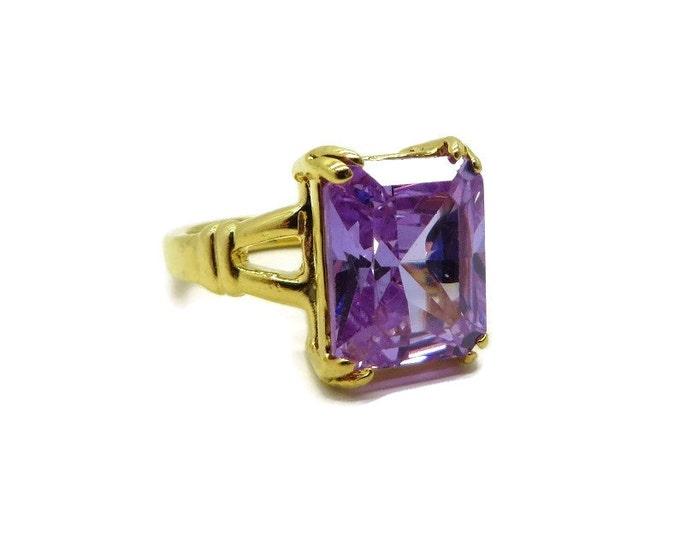 SETA Amethyst CZ Ring, Vintage Gold Plated Ring, Emerald Cut CZ, Size 5