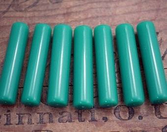 Quality Vintage Green Acrylic Beads Long Tube Beads Green Onyx Color Tube Bead (2) SV32