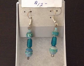 Beautiful Blue Paper Bead Earrings