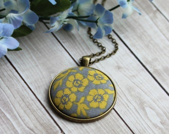 Gray And Yellow Necklace, Floral Fabric Pendant, Mustard Boho Jewelry With Flowers