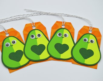 Avocado Gift Tags - Set of 4 - Avocados - Gift Tags - Tropical Avocado Tags - Personalize Tags - Veggie tags - Vegan Gift tags - Avocado Tag