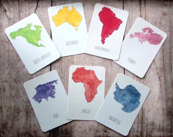 7 Continents Flash Cards, Educational, World Map, Wall Art, Nursery Decor, Childrn's Room, Homeschool, Classroom Art Flashcards