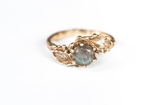 Labradorite 14k gold leaf engagement ring, twig leaf engagement ring, labradorite nature promise ring