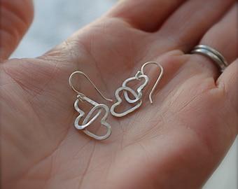 Heart earrings. Double heart. sterling silver. Two small hearts. Little hammered heart dangle earrings. OOAK