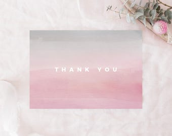 "PRINTABLE Thank You Card, Pink and Gray Thank You Card, Watercolor Thank You Card, 3.5""x5"" Folded Card, A1 Thank You Card, Modern, Simple"