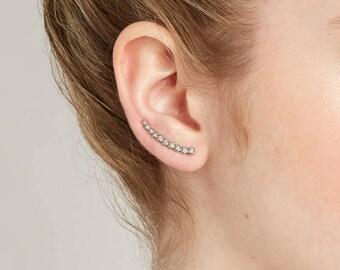 Silver Ear Climbers  Ear Jacket   Crawler Earrings 925 Sterling Silver