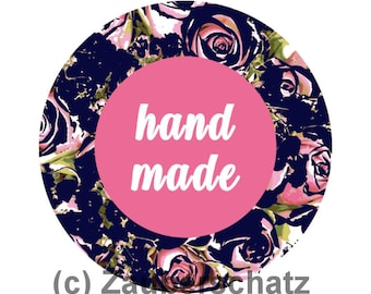 Handmade digital graphics file png for download-round shape rose pattern dark blue eg for sticker-Private & commercial use