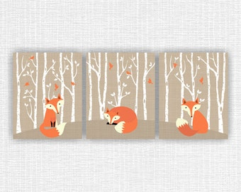 INSTANT DOWNLOAD Fox wall art, Forest animals wall art, Fox Burlap wall art, Fox Printable wall art, Fox Set of 3, 8x10, Fox prints set