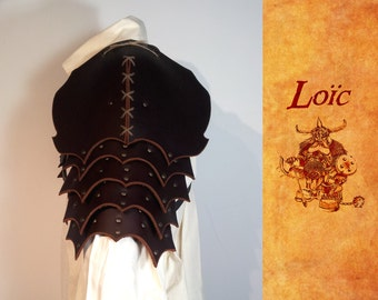 """Shoulder pads """"dragon"""" piece of medieval armor, buffalo leather"""
