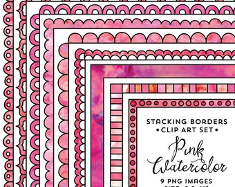 8.5x11 Stacking Border Frame Set, Pink Watercolor Frame Clipart, Pink Watercolor, Instant Download