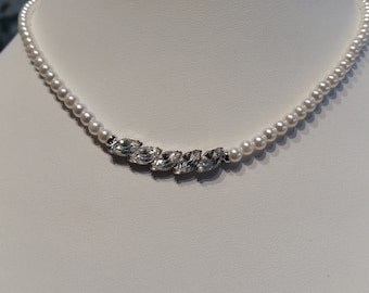 Rachel Pearl Strand with handset Swarovski crystals & pearls.  Canadian, new, 18 length