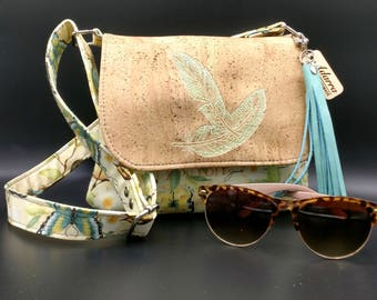Feather embroidered cork mini messenger bag