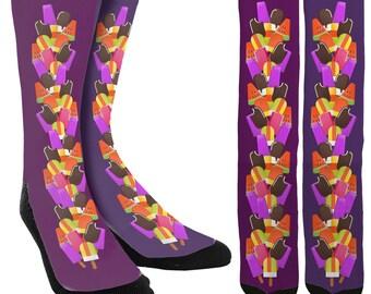 Ice Cream Socks - Crazy Socks - Cute Socks - Socks for Girls - Socks for Women - Funky Socks - Novelty Socks -Crew Socks - FREE Shipping B95